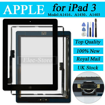 Black Screen For iPad 3 Touch Digitizer Replacement Mid Frame Bezel Home Button