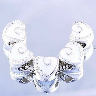 Fashion jewelry 5pcs sterling silver Plated heart Charms Beads for Bracelet