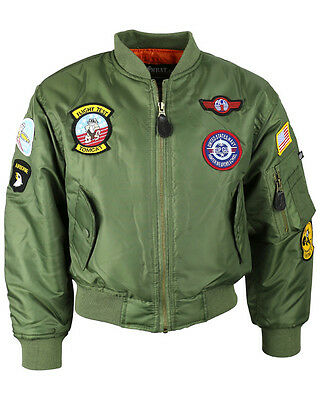 Kids Boys MA1 Flying Jacket Green Military Army Soldier Fancy Dress Up Costume