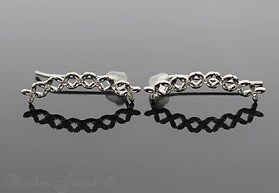 Tiny Flower Chain Line Ear Crawler Climber Sterling Silver Plated Earrings