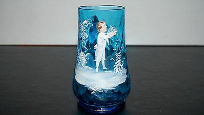 Antique Haunted Mary Gregory Blue Beer Stein Mug Boy Holding Basket of Berries