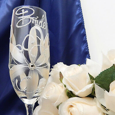 Bride Champagne Toasting Flute Glass Wedding Party Gifts Bridal Daisy