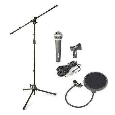 Complete Band Singing Recording Artist Microphone, Stand, Clip & Pop Shield Set