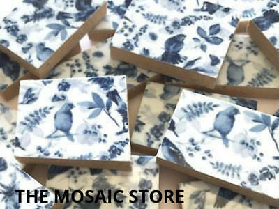 Blue & White Birds Handmade Ceramic Tiles - Mosaic Tiles Supplies