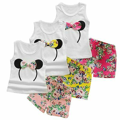 2PCS Baby Kids Girls Minnie Mouse T-shirt Tops+Pants Shorts Outfits Clothes Set