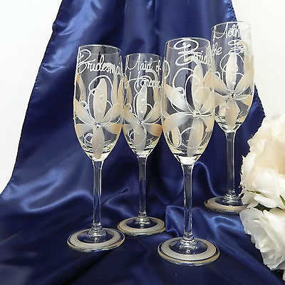 Bridal Party Gifts Set of 4 Hand Painted Champagne Glasses Bridal Daisy