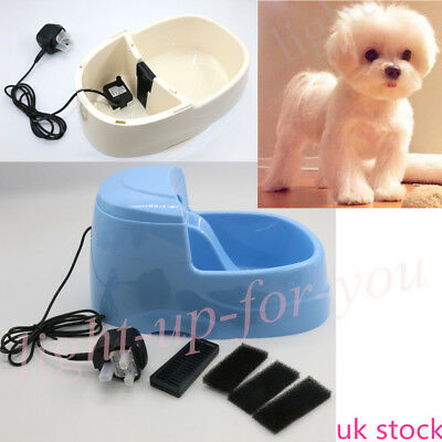 New 2.5L Pet Dog Cat Drinking Water Fountain Pump Filter Fresh Bowl UK Stock