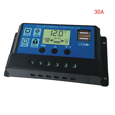 30A USB Solar Panel Battery Regulator Charge Intelligent Controller 12/24V