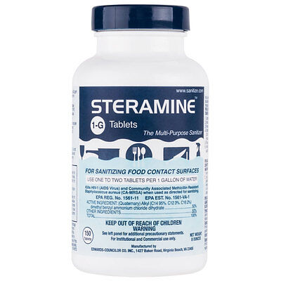 Steramine Sanitizing Tablets 8 oz. Bottle <Each Bottle Makes Up To 150 Gallons>