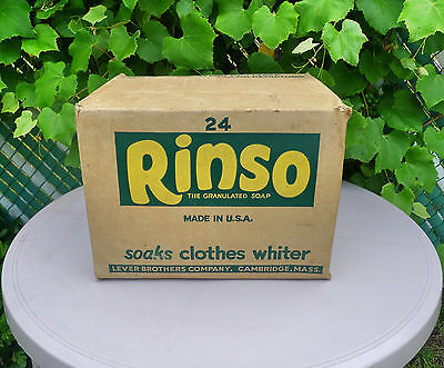 Vintage 1940's Rinso Laundry Soap Powder Store Cardboard Case Box Crate Display