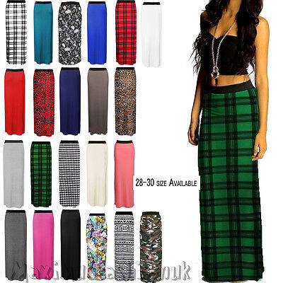 Womens Ladies New  Jersey Maxi Skirt Gypsy Badycon Summer Dress Size 8-30