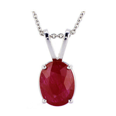1.85CT Oval Ruby Solitaire Pendant in 14K White Gold 0.50'' with 16'' chain