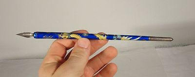 Antique Chinese or Japanese Sterling Silver Hallmarked Cloisonne Enamel Pen