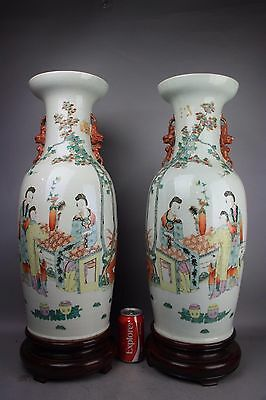 19th C. Chinese Pair Famille-rose Floor Vases On Heavy Redwood Stands