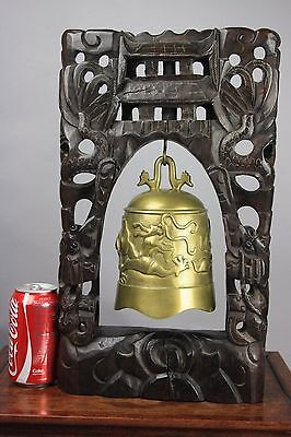 19th/20th C. Bronze Inscribed Dragon Bell w Silver Yarn Redwood Stand