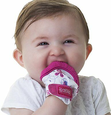 Nuby Happy Hands Soothing Teething Mitten with Hygienic Travel Bag, Pink