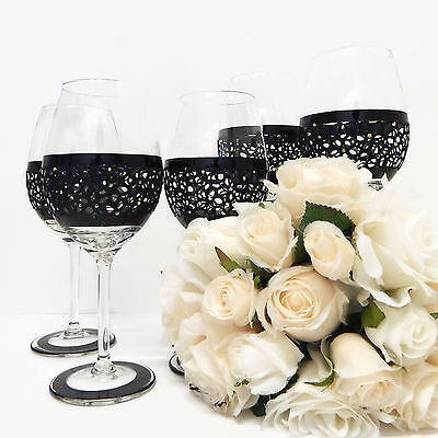 Wedding Wine Glasses Set of 5 Black Lace For Bridal Party Lace