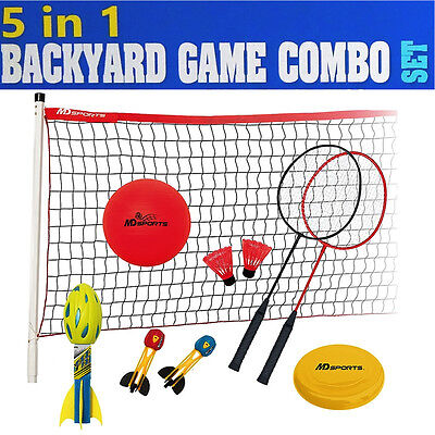 Portable 5 in1 Outdoor Sports Game Set Volleyball Badminton Football Flying Disc