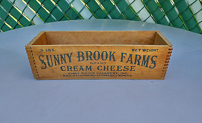 Vintage c.1930's Sunny Brook Farms Creamery Wooden Cream Cheese Box Antique Wood