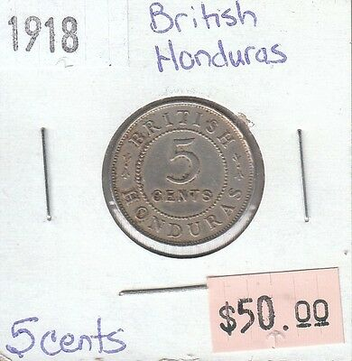 British Honduras 5 Cents 1918 Circulated