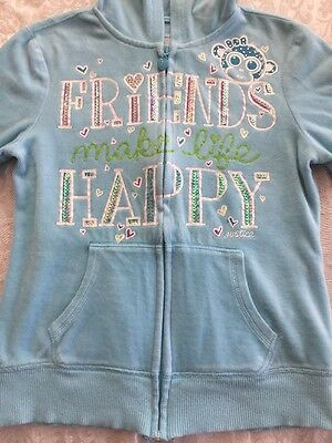 Youth Girl's Justice Blue Sequin Graphic Zip Front Hooded Jacket Hoodie Sz 10