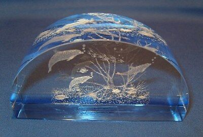 LAZER ART Crystal Glass Dolphin Paperweight By LEONARDO