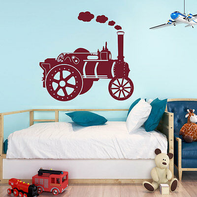 Traction Train Vintage Railway Transport Locomotive Engine Kids Wall Sticker A83
