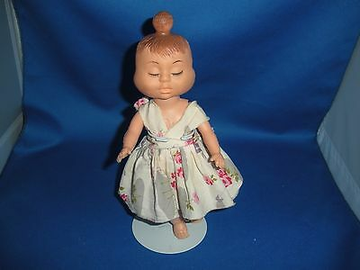 """Vintage 8 1/4"""" Tall 3-Faces Doll:happy,crying,sleeping, Rubber Face,plastic Body"""