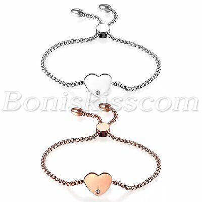 Women's Stainless Steel Love Heart Charms Freely Adjustable Bracelet Chain 22cm