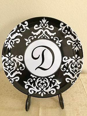"""Darling Occasionally Made """"d"""" Serving Plate, Black, White, Scroll Design"""