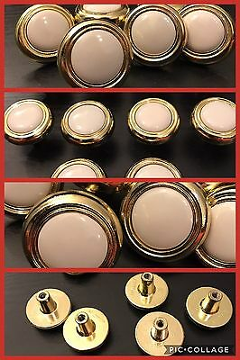 10 Knobs Pulls Round White CERAMIC Brass Tone Cabinet Drawer Retro Vintage Deco
