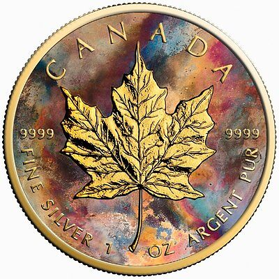 Canada Silver Maple Leaf Coin Aquarelle Colorized and Gold Gilded Golden Noir