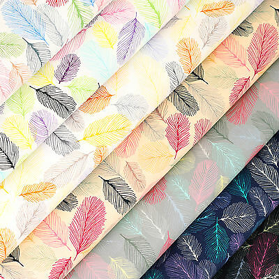 Cotton Fabric per Fat Quarter Retro Bird Feather Tail Dry Leaf FabricTime VK116