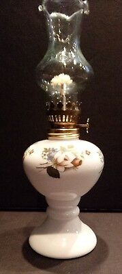 """Small Vintage 5"""" Milk Glass Oil Lamp Rose Pattern - Made in Japan - COMPLETE"""