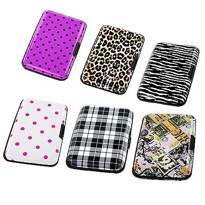 Aluminum Women Wallet RFID Blocking Credit Card Case Holder Crash Proof  Printed