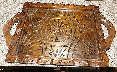Vintage Heavy Carved Sunflower Wooden  Serving Hostess Tray Glass Top 2 Handles