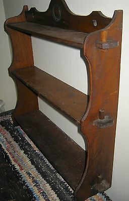 Vintage Hanging or Standing Wooden Mission Oak Arts & Crafts Mortised Wall Shelf