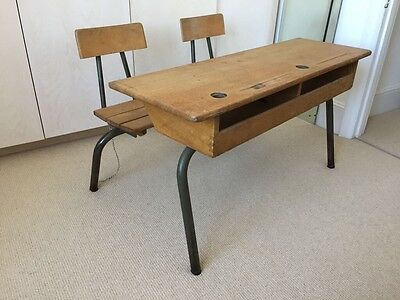 Vintage French Twin School Desk and Chair