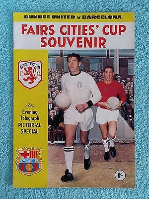 1966 - DUNDEE UNITED v BARCELONA PROGRAMME - FAIRS CUP 2ND ROUND - V.G CONDITION