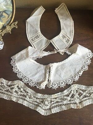 ANTIQUE IRISH CROCHET LACE And OTHER COLLARS LOT OF 3
