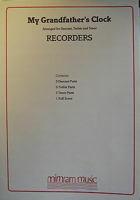 My Grandfather's Clock Recorder Trio Descant Treble Tenor 3 Part Music Book S159