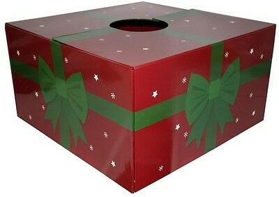20 in. Christmas Tree Skirt Box Gift Present Red Green Ribbon Bow Holiday Decor