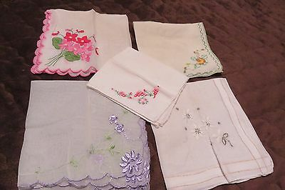 Set of 5 Vintage Embroidered Hankies ~ Assorted Colors and Patterns