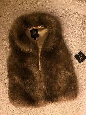 Jack Ladies Faux Fur Brown Lined Vest Size Small New With Tag