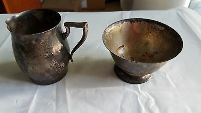 Vintage 1950's Paul Revere Style Silver Plate Cream and Sugar Set