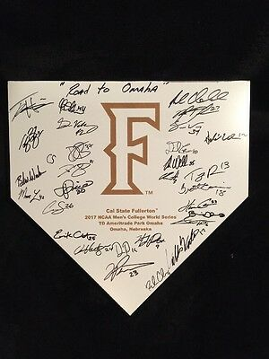 2017 College World Series Signed Home Plate Cal State Fullerton Team Autographs