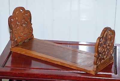 Genuine Hand Carved Stamped India Archana Bookcase Slide For Table Storing Books