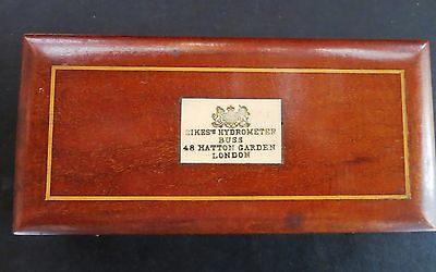 Antique Sikes Hydrometer Set In Mahogany Case With Inlaid Bone Address