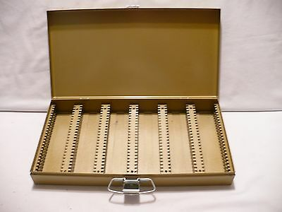 "Vintage KENCO Gold Metal Storage Box, 300 Slide File, 35mm or 2"" x 2"" Coins"