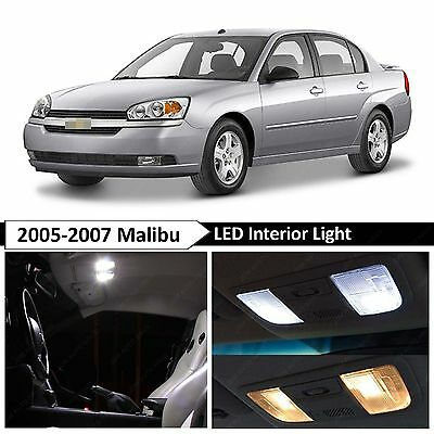 2005-2007 Chevy Malibu White Interior + License Plate LED Lights Package Kit